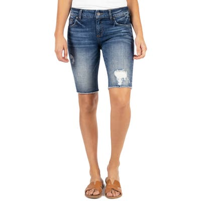 Kut From The Kloth Sophie Distressed Denim Bermuda Shorts, Blue