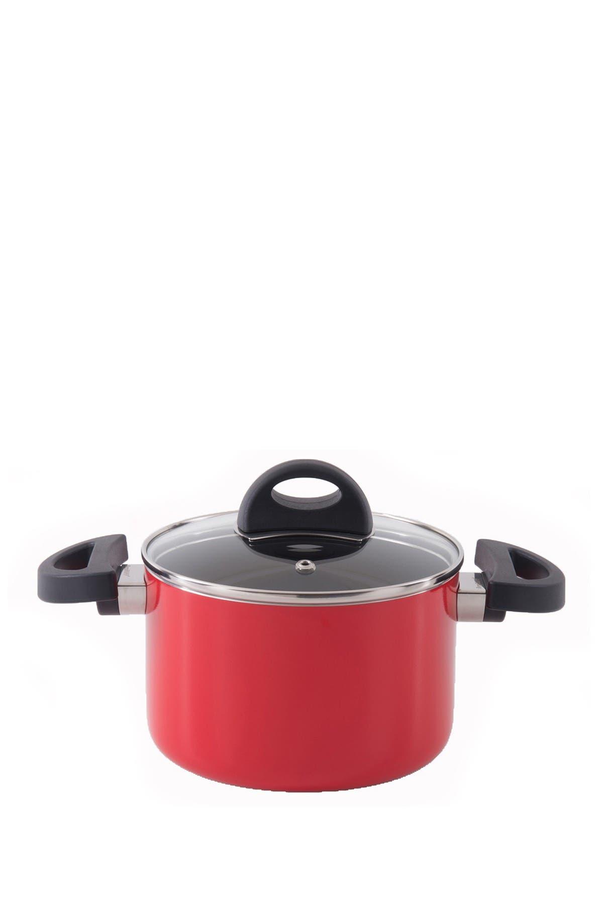 Image of BergHOFF Red 2.1 qt. Aluminum Covered Casserole Pot