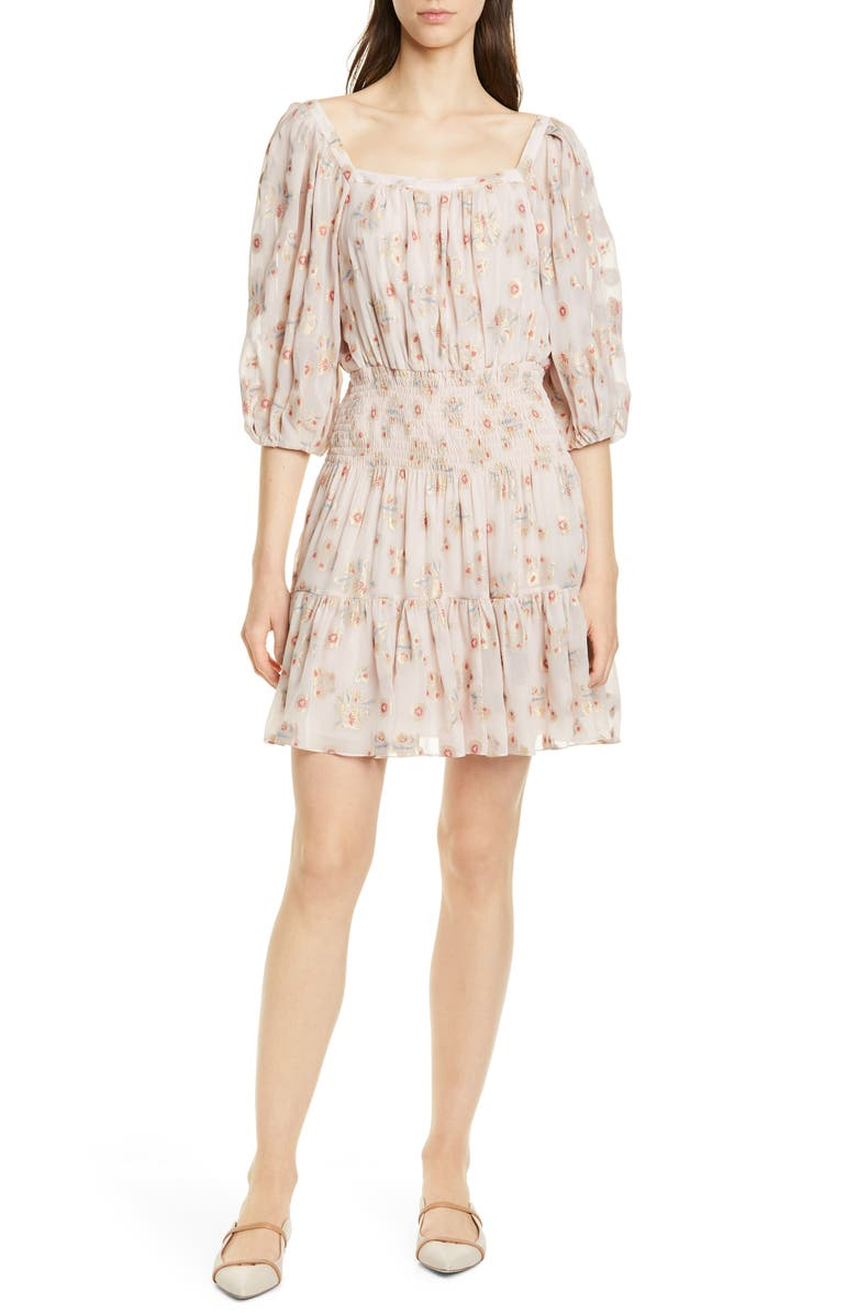 REBECCA TAYLOR Leander Metallic Floral Silk Blend Dress, Main, color, PALE PINK COMBO