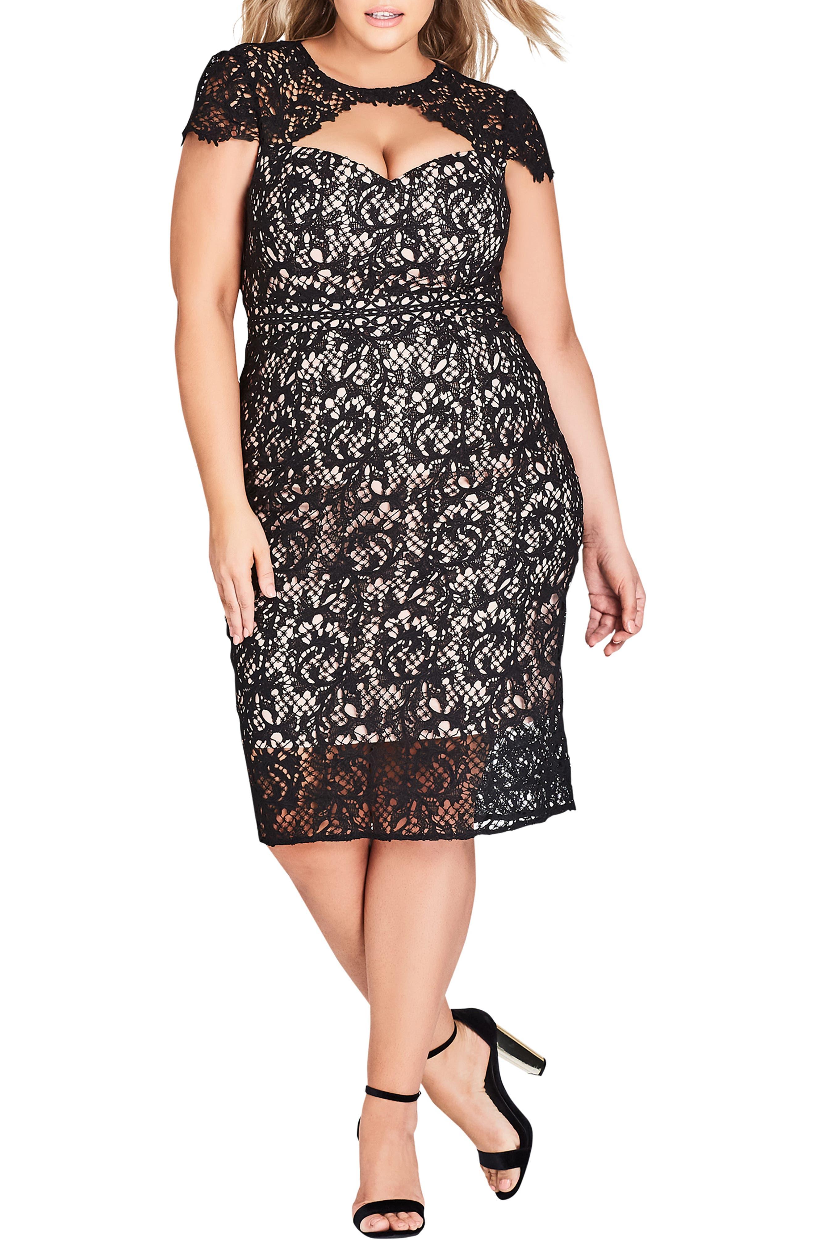 Plus Size City Chic Pretty Lace Sheath Dress, Black