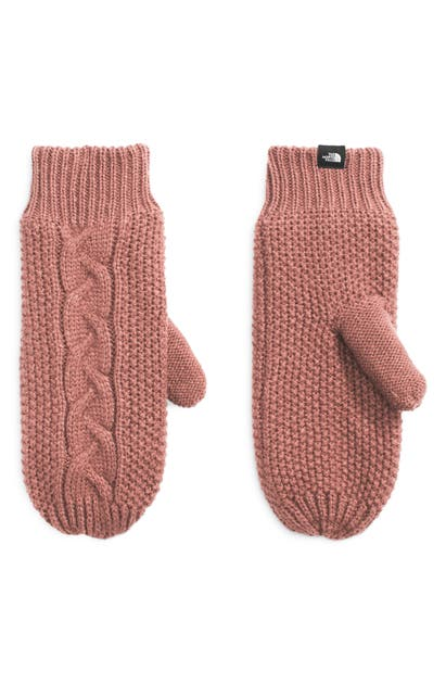 The North Face Minna Cable Knit Mittens In Pink Clay