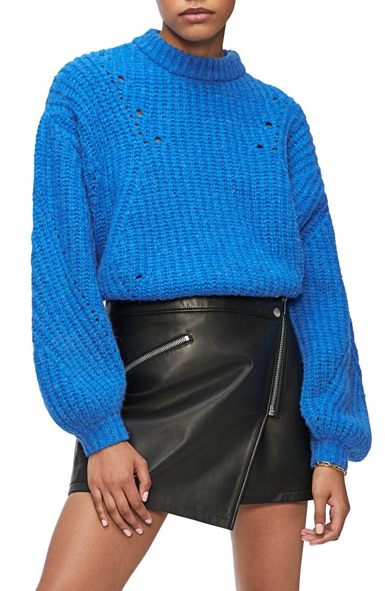 ANINE BING Jolie Pointelle Alpaca & Wool Blend Sweater, Main, color, 400