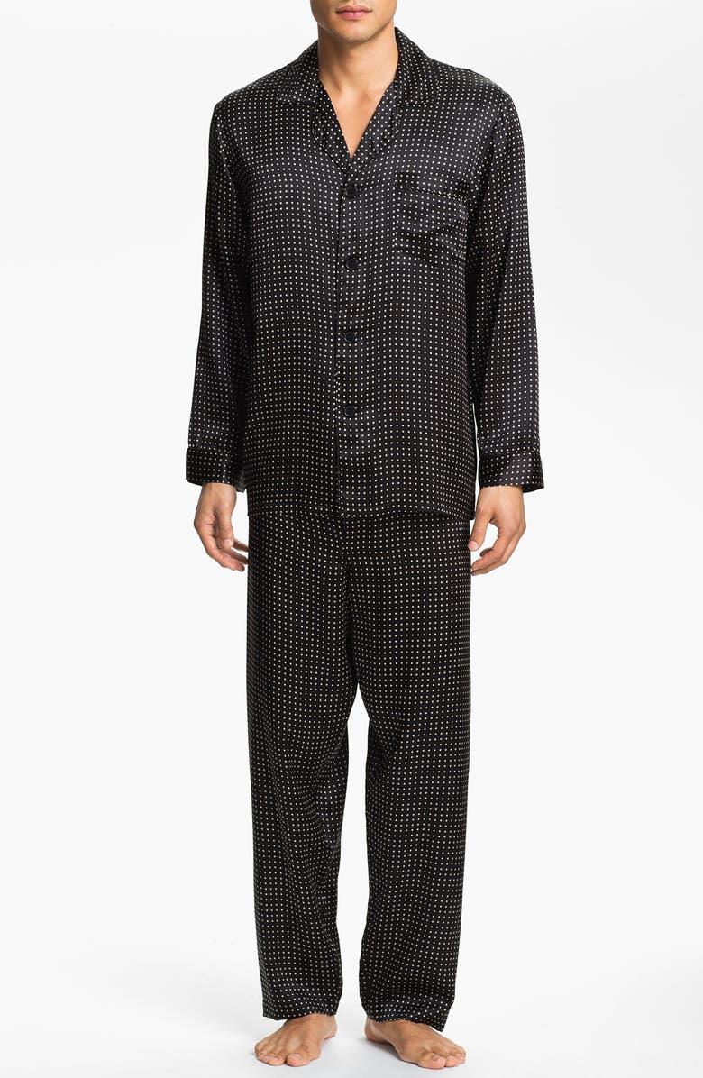 MAJESTIC INTERNATIONAL Dot Silk Pajamas, Main, color, BLACK