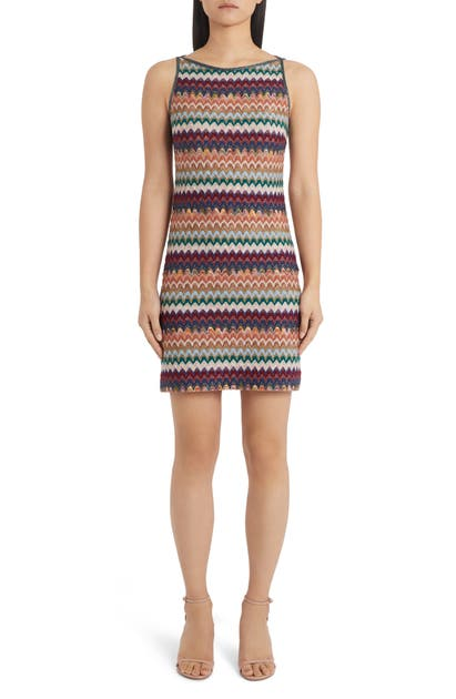 Missoni METALLIC CHEVRON SWEATER MINIDRESS