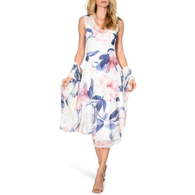 Komarov Tiered Chiffon Dress With Shawl, White