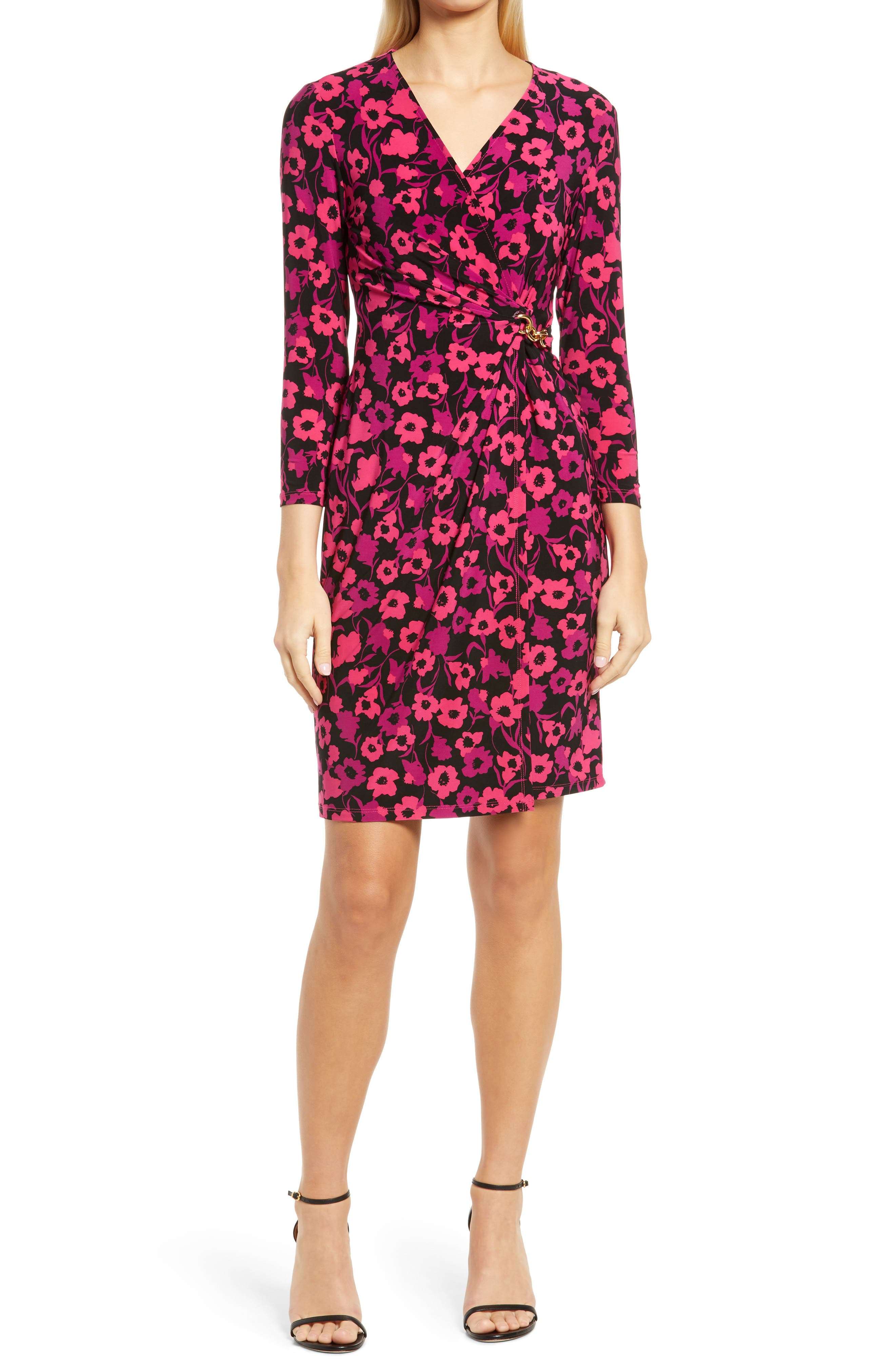 Floral Long Sleeve Wrap Front Knit Dress