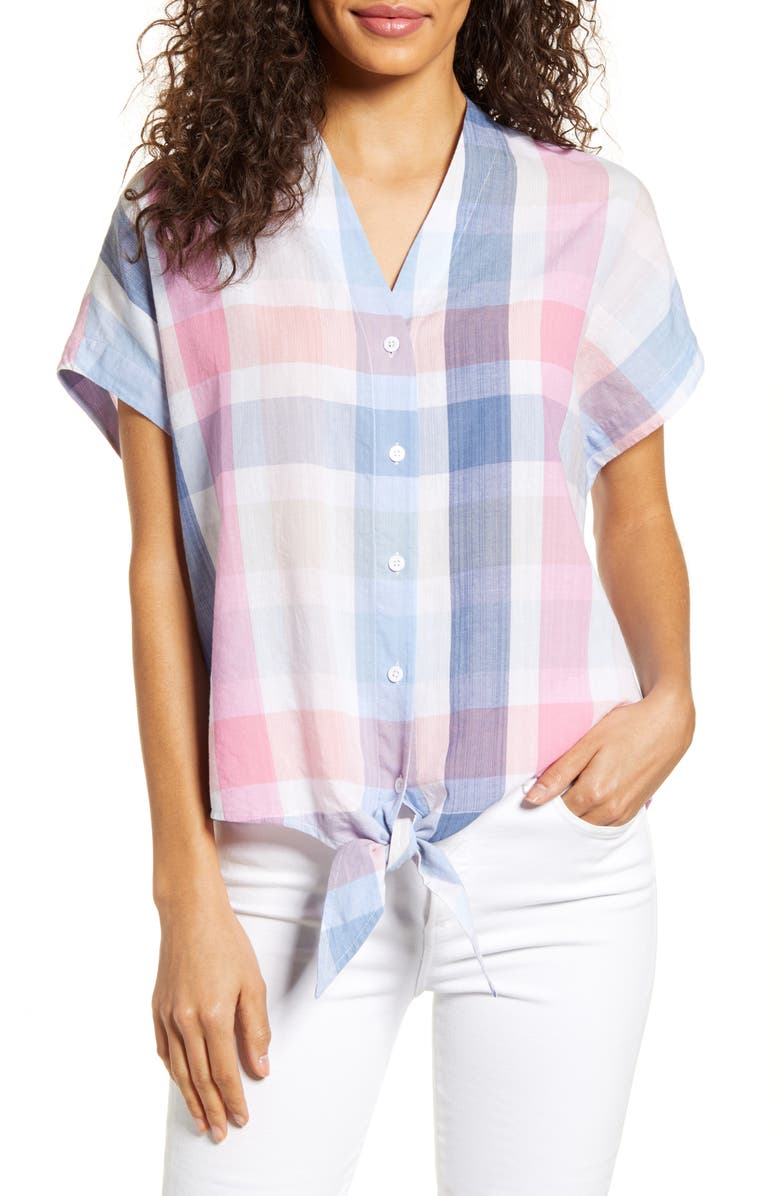 TOMMY BAHAMA Padma Plaid Tie Front Top, Main, color, INFINITY SKY