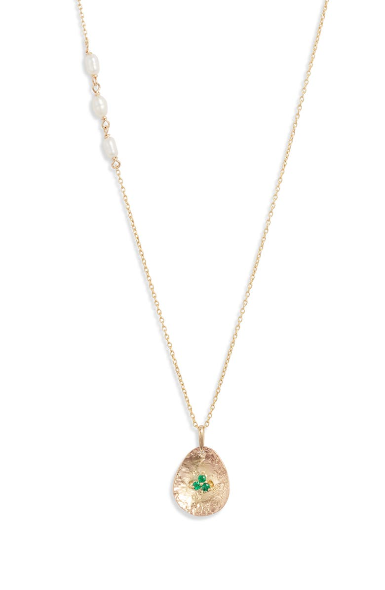 POPPY FINCH Emerald Petal Pendant Necklace, Main, color, EMERALD/ YELLOW GOLD