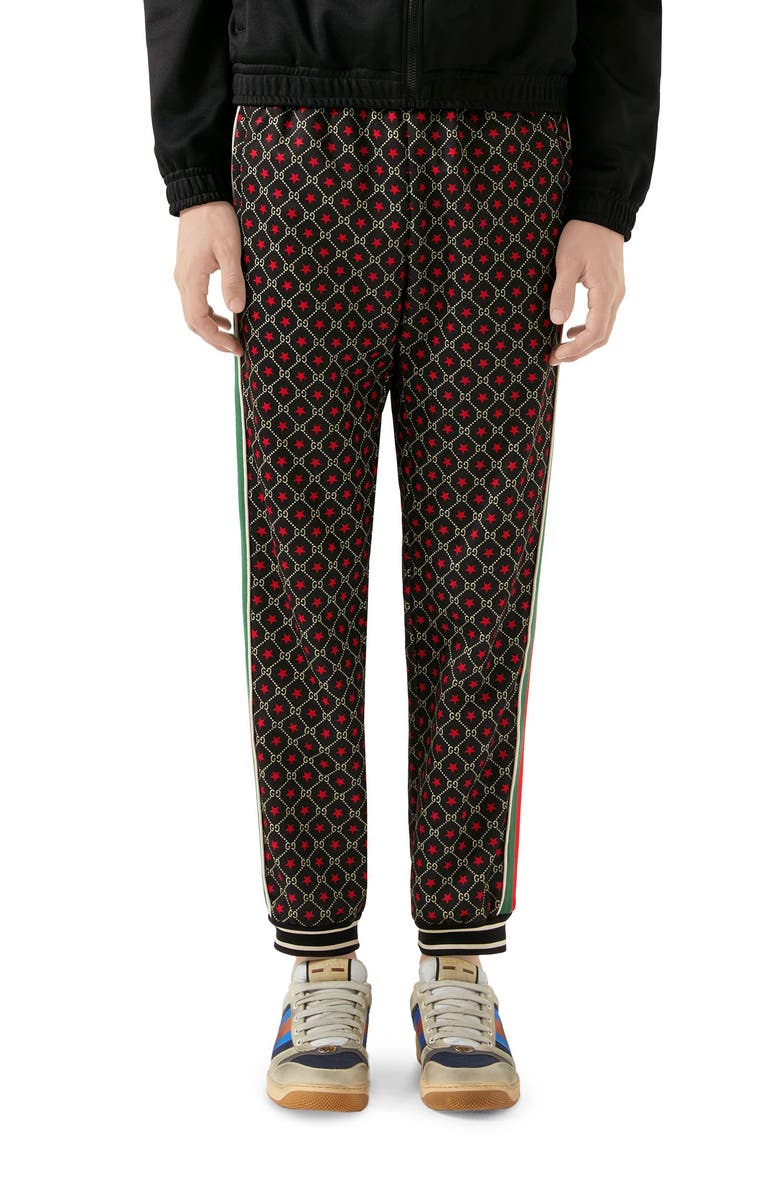 GUCCI GG Star Print Technical Jersey Jogger Pants, Main, color, BLACK/ YARD/ LIVE RED