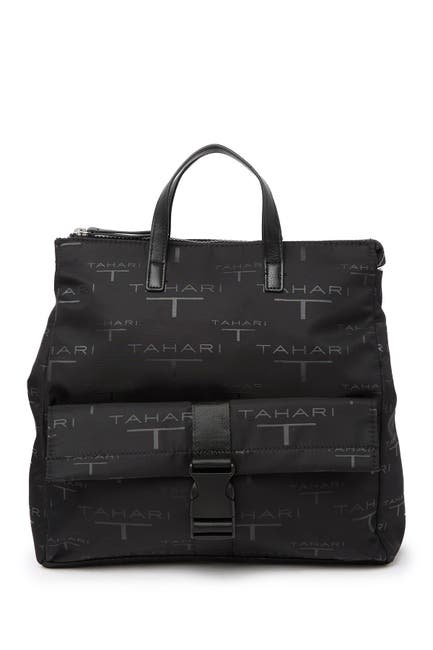 Image of T Tahari Lexington Ave Logo Print Backpack