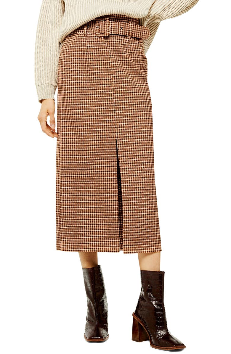 TOPSHOP Belted Check Slit Midi Skirt, Main, color, BROWN MULTI