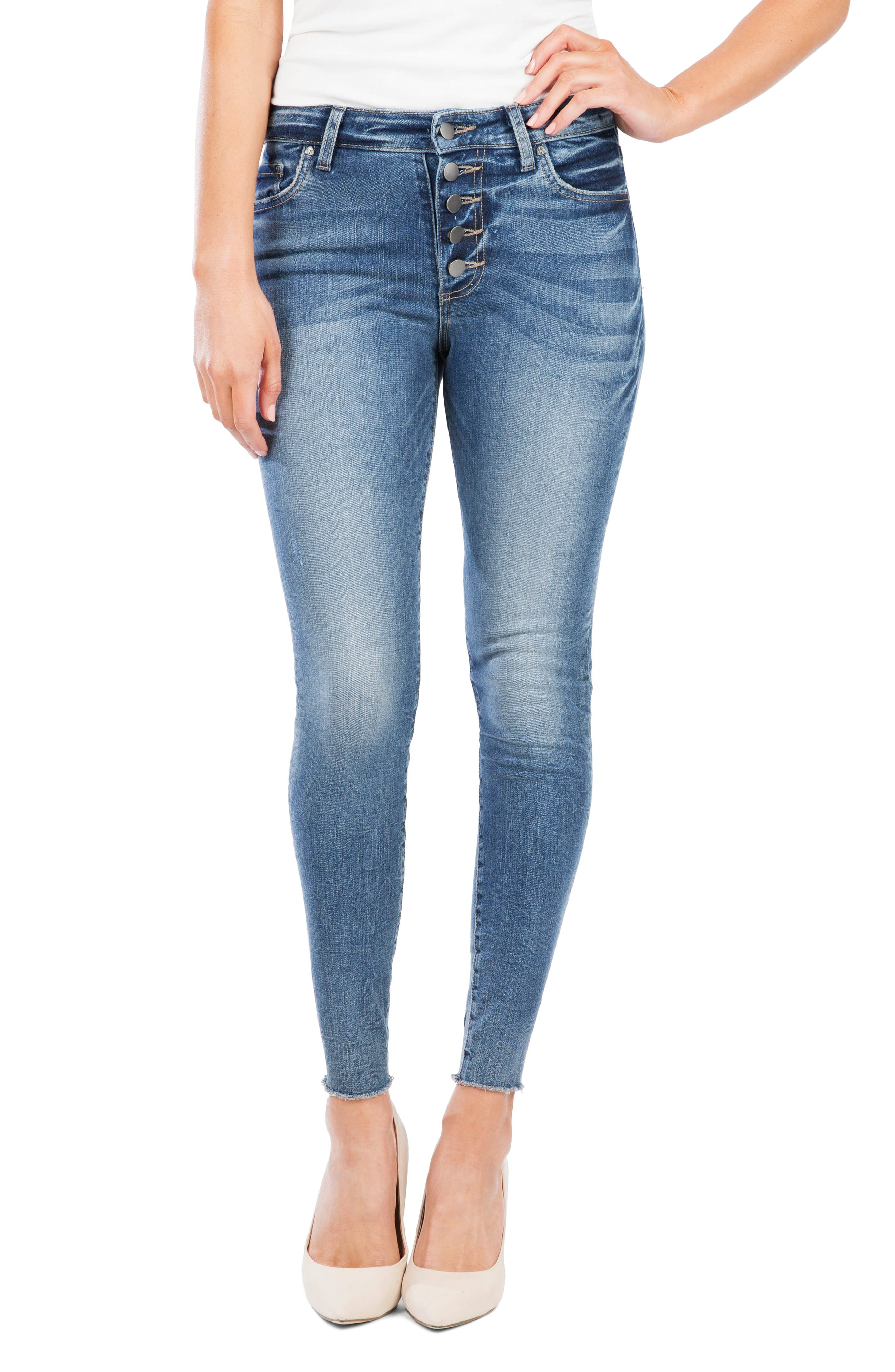 Donna Button Fly Skinny Jeans, Main, color, DEMAND