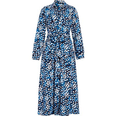 Petite Halogen Long Sleeve Midi Shirtdress, Blue