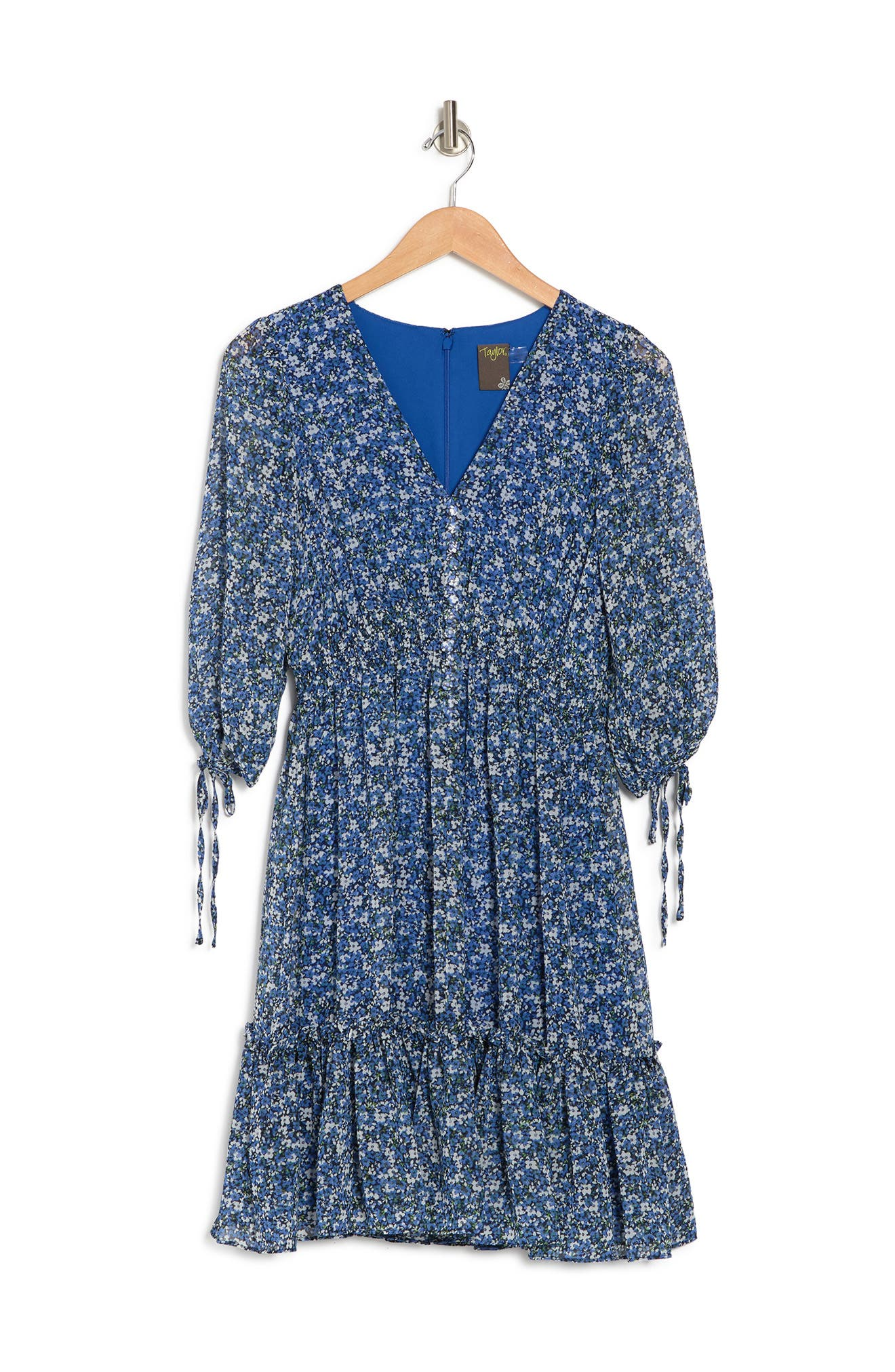 Taylor FLORAL PRINT V-NECK DRESS