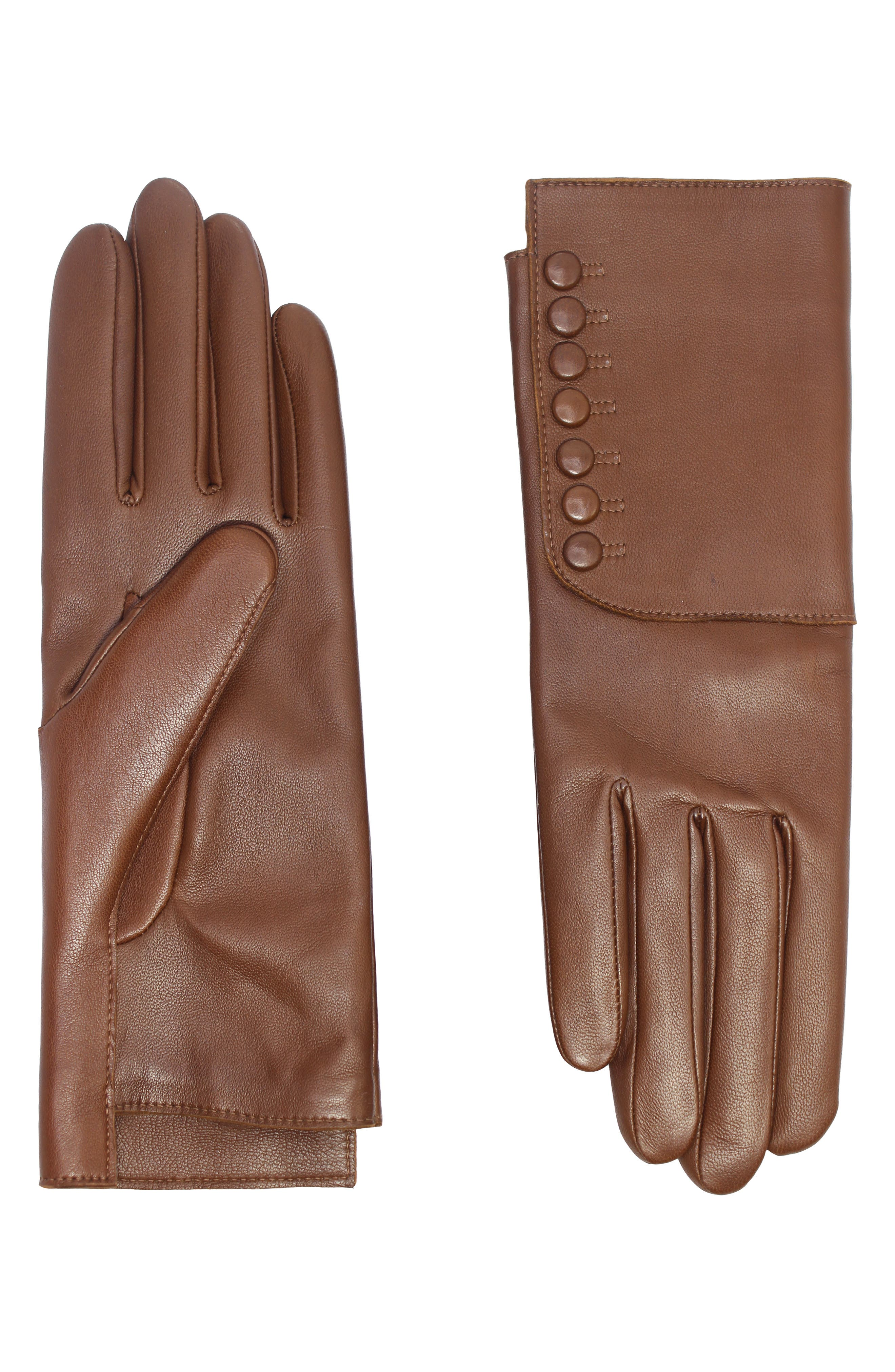 Edwardian Gloves, Handbags, Hair Combs, Wigs Womens Agnelle Rachelle Snaps Lambskin Leather Gloves $185.00 AT vintagedancer.com