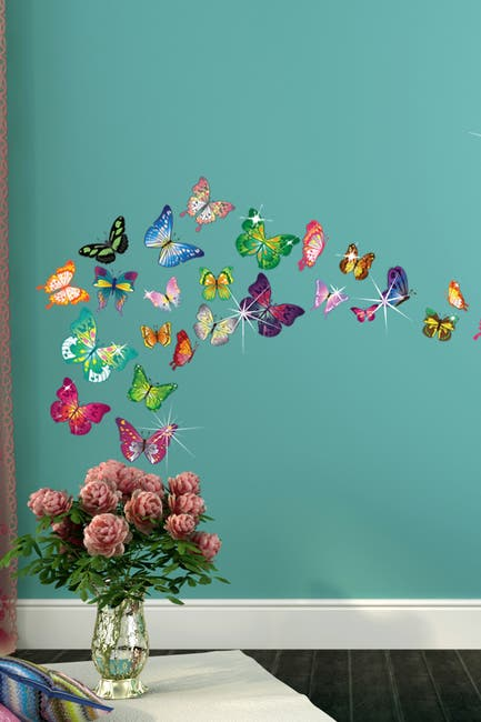 Image of WalPlus Multi Swarovski Crystal Embellished Butterflies Wall Decal