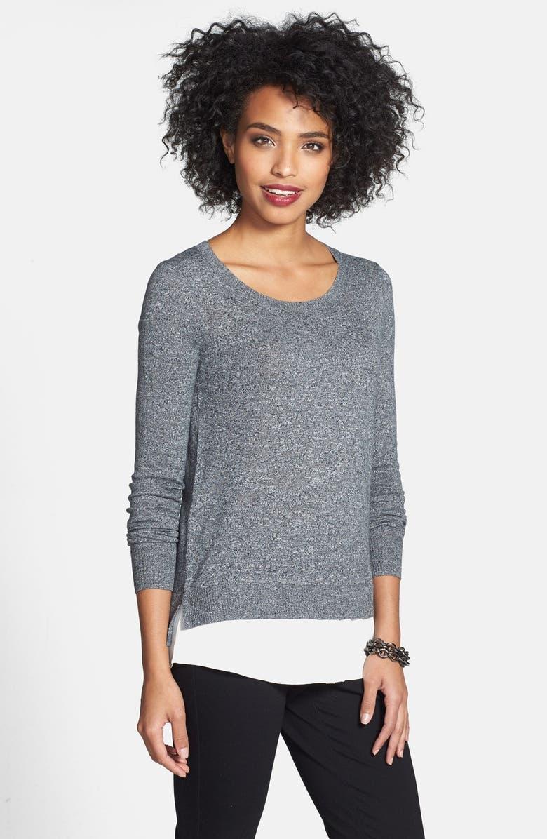 KENSIE Mock Layer Crewneck Sweater, Main, color, 010