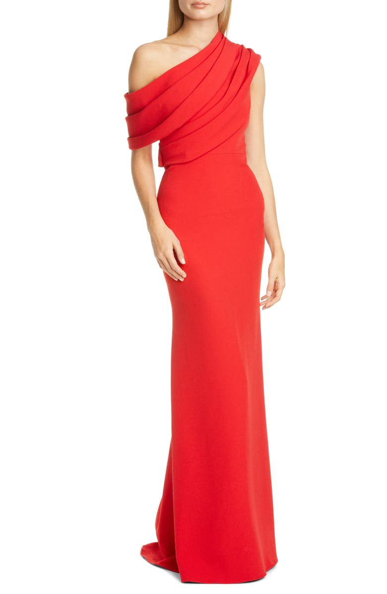 BADGLEY MISCHKA COLLECTION Badgley Mischka Draped One-Shoulder Gown, Main, color, SIRACHA