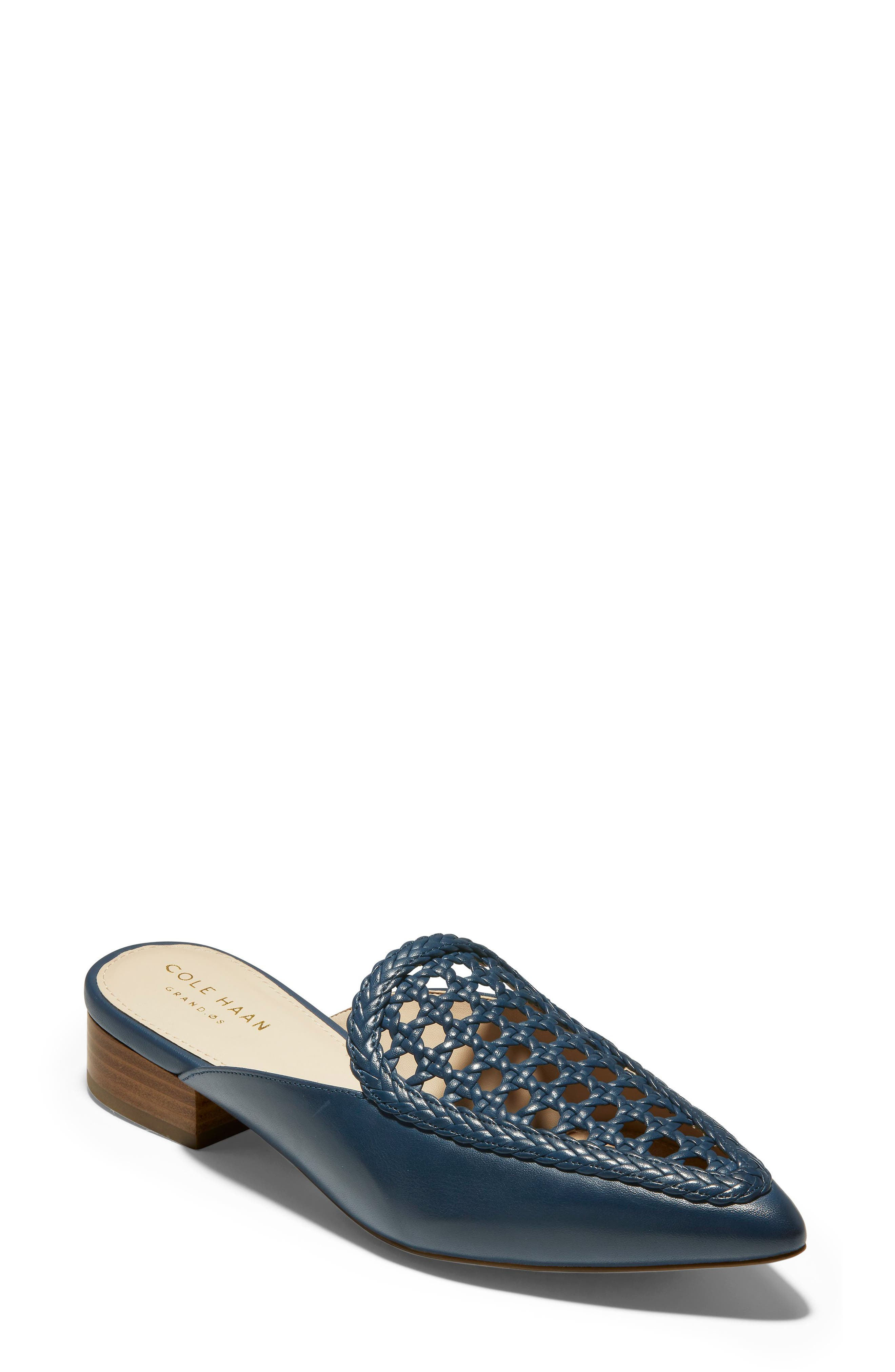 Payson Weave Mule, Main, color, MARINE BLUE LEATHER