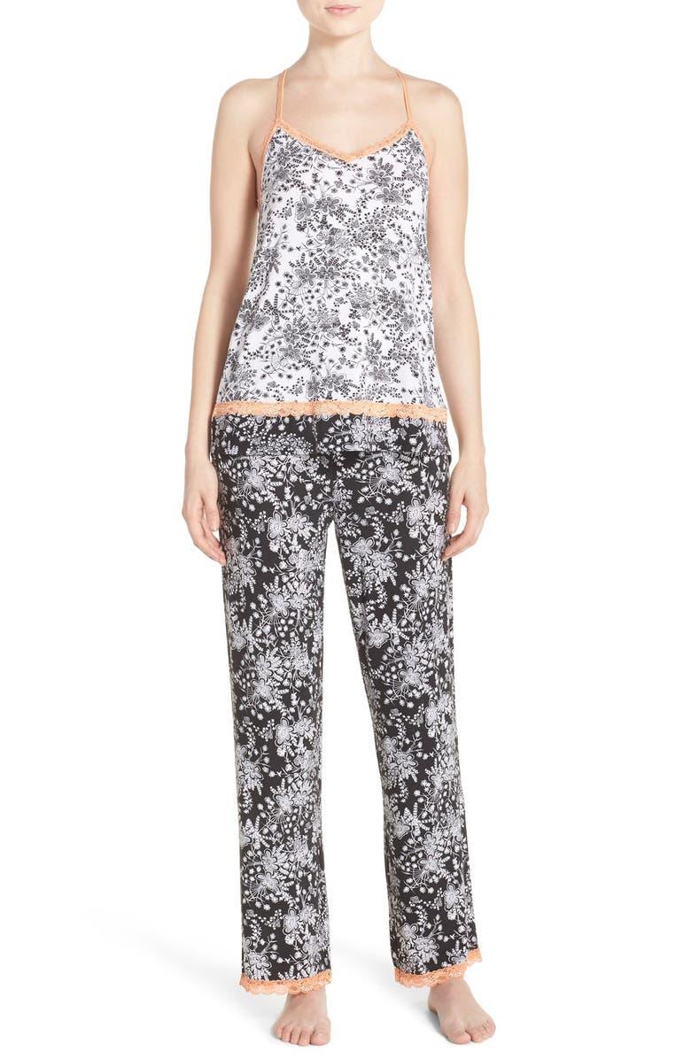 PJ SALVAGE Print Jersey Pajamas, Main, color, 001