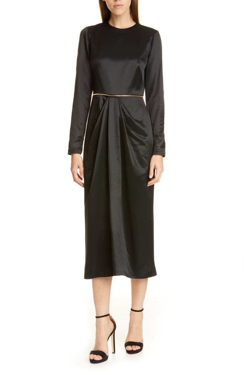 BRANDON MAXWELL Long Sleeve Wrap Skirt Midi Dress, Main, color, BLACK