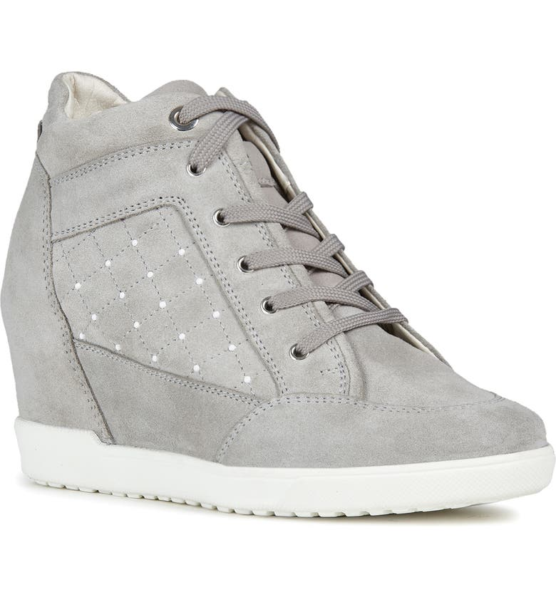 GEOX Carum Wedge Sneaker, Main, color, LIGHT GREY LEATHER
