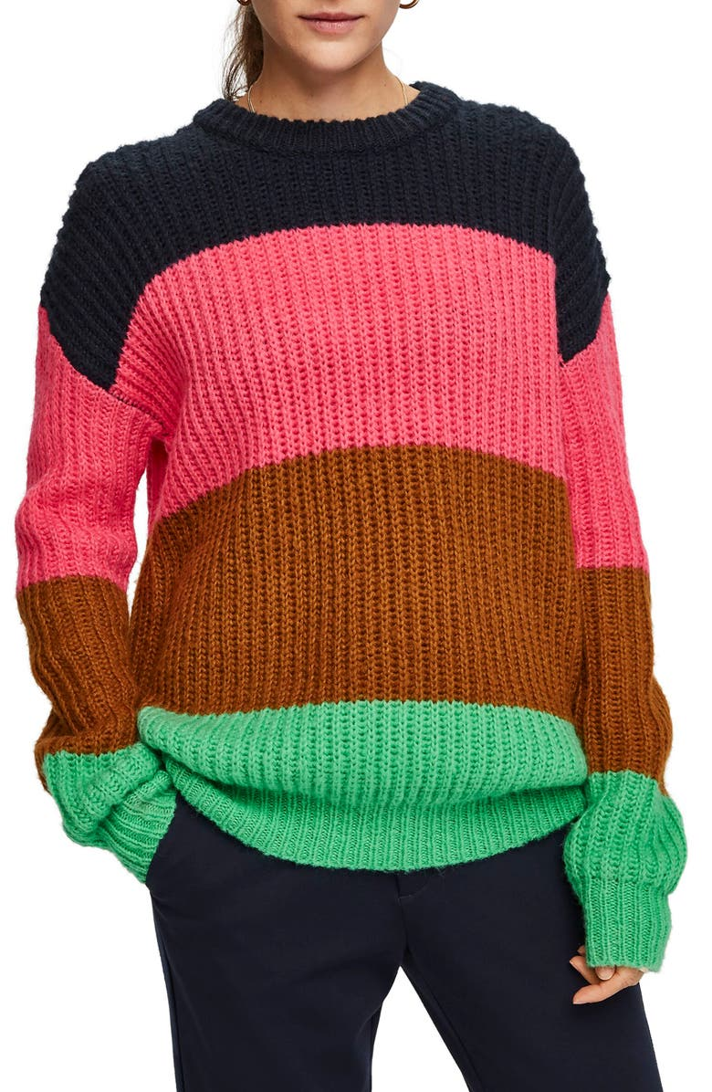 SCOTCH & SODA Colorblock Sweater, Main, color, 650