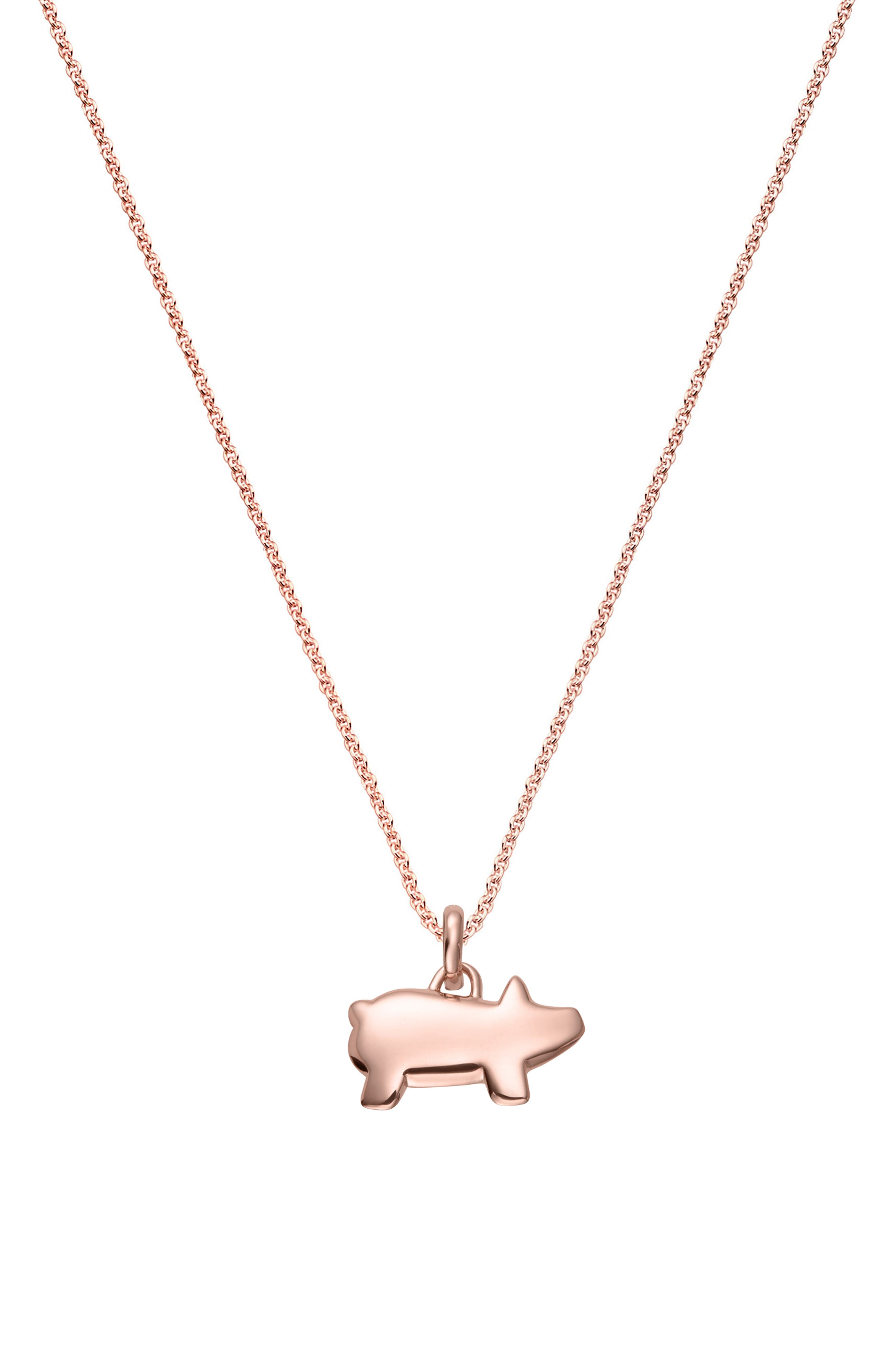 Chinese Zodiac Bessie the Pig Pendant Charm, Main, color, ROSE GOLD