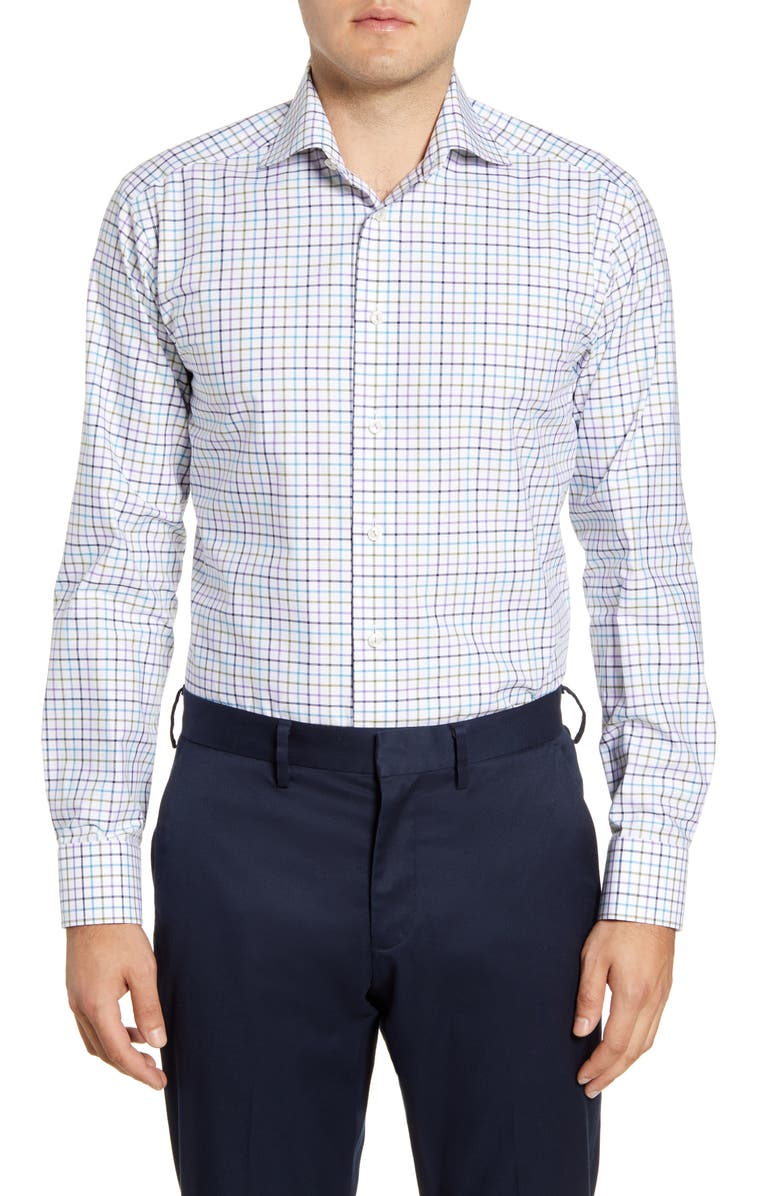 ETON Slim Fit Check Grid Dress Shirt, Main, color, PURPLE