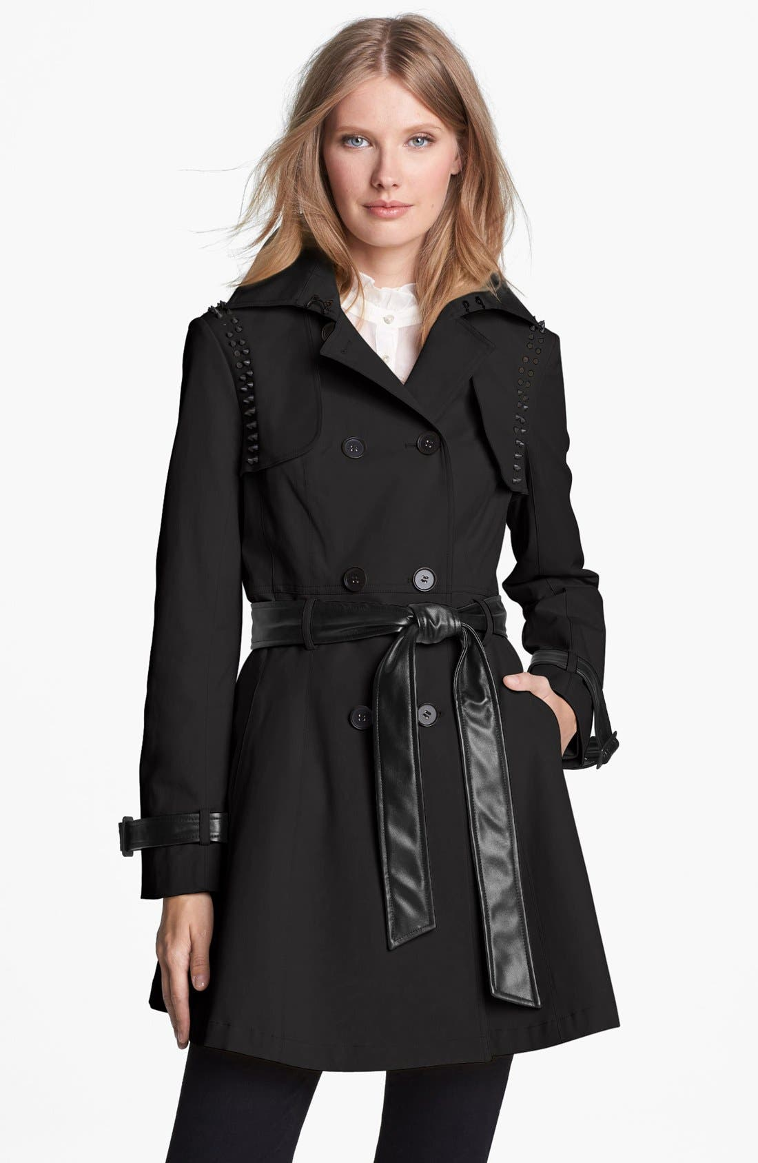 ,                             Stud & Faux Leather Trim Trench Coat,                             Main thumbnail 1, color,                             001