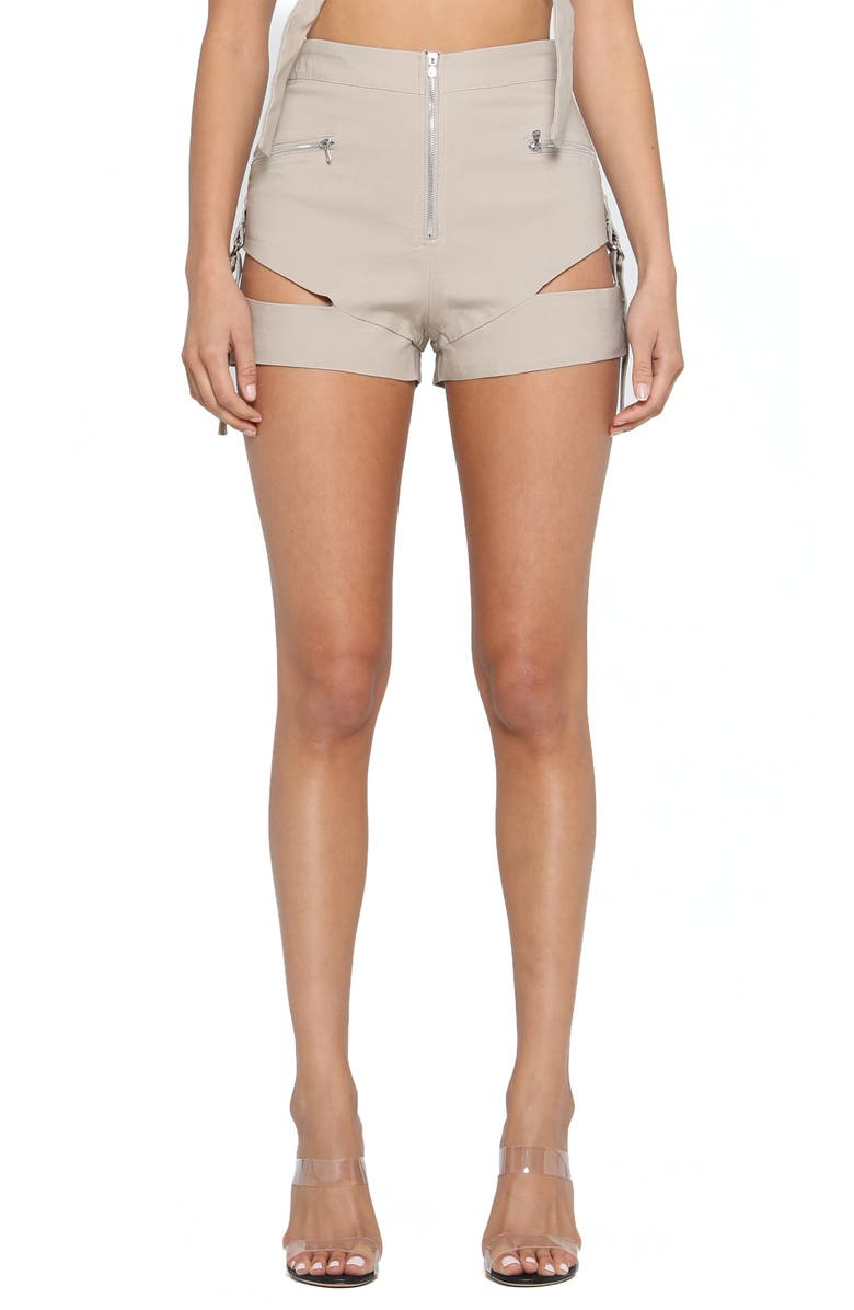 TIGER MIST Reed Slashed Utility Shorts, Main, color, TAN