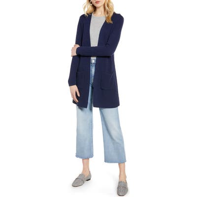 Halogen Long Ribbed Cardigan, Blue