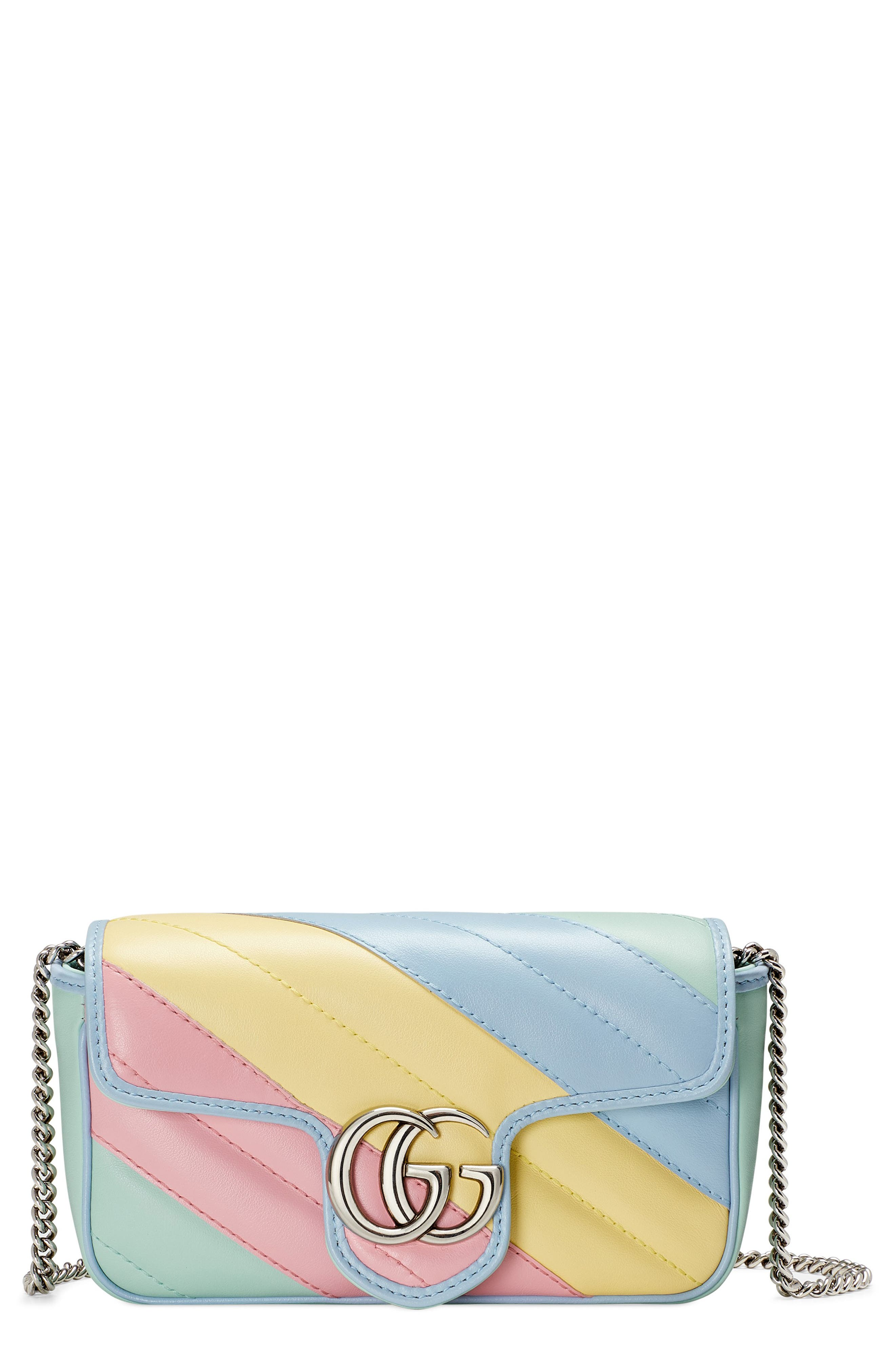 Pre-order this style today! Add to Shopping Bag to view approximate ship date. You\\\'ll be charged only when your item ships. Gucci gives its Marmont bag a charming makeover with dreamy pastel color that plays up the silvertone double-G hardware and dimensional matelasse quilting. An interior key ring is meant for attaching it to a larger bag, or you can remove the chain strap and carry it as a clutch. Style Name: Gucci Super Mini Gg Matelasse