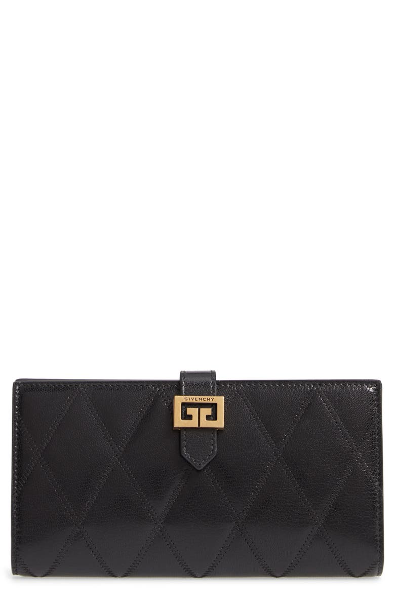 GIVENCHY GV3 Diamond Quilted Leather Wallet, Main, color, BLACK
