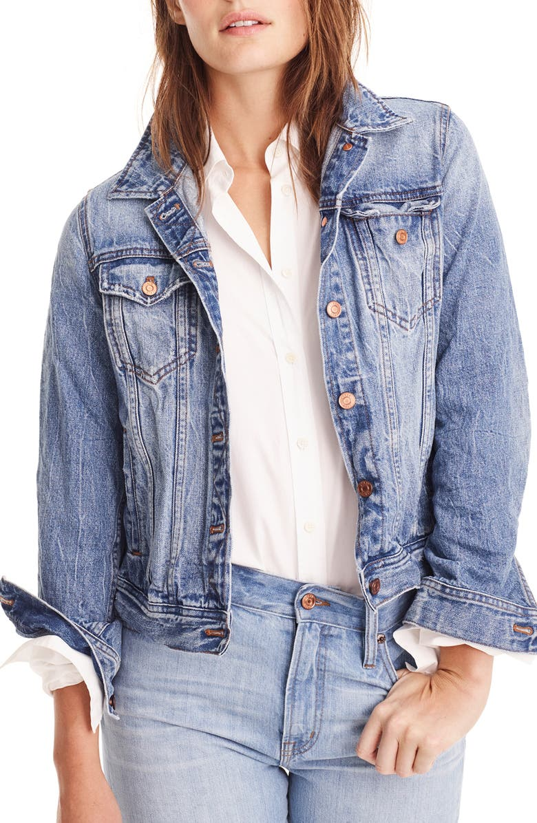 J.CREW Classic Denim Jacket, Main, color, 400
