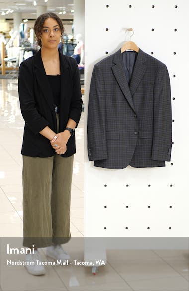 Flynn Classic Fit Check Wool Sport Coat, sales video thumbnail