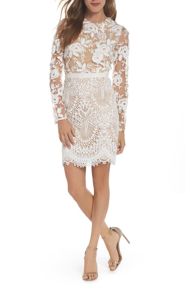 ML MONIQUE LHUILLIER Calypso Long Sleeve Lace Cocktail Dress, Main, color, IVORY NUDE