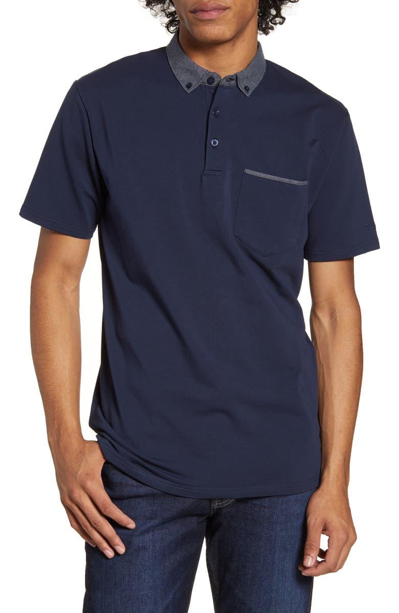 BEN SHERMAN Button-Down Woven Collar Polo, Main, color, NAVY