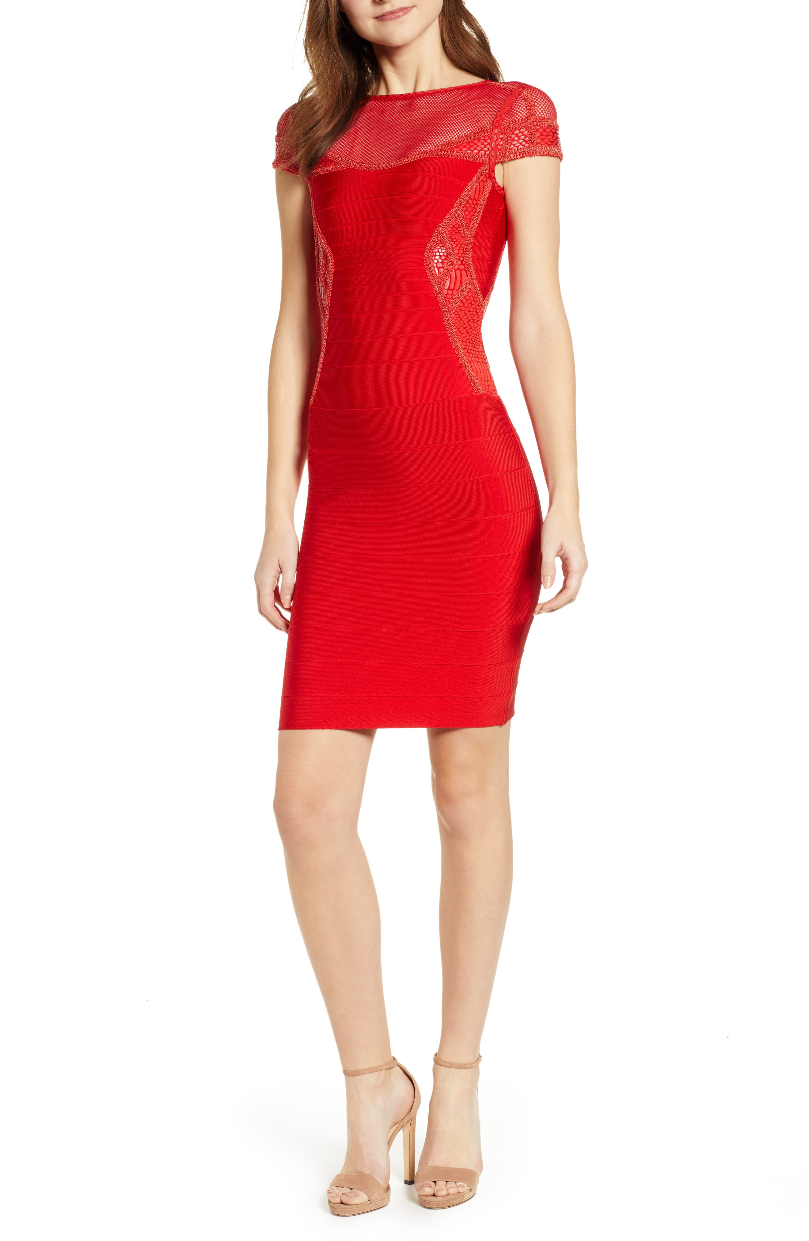 Sentimental Ny Embroidered Body-Con Dress, Red