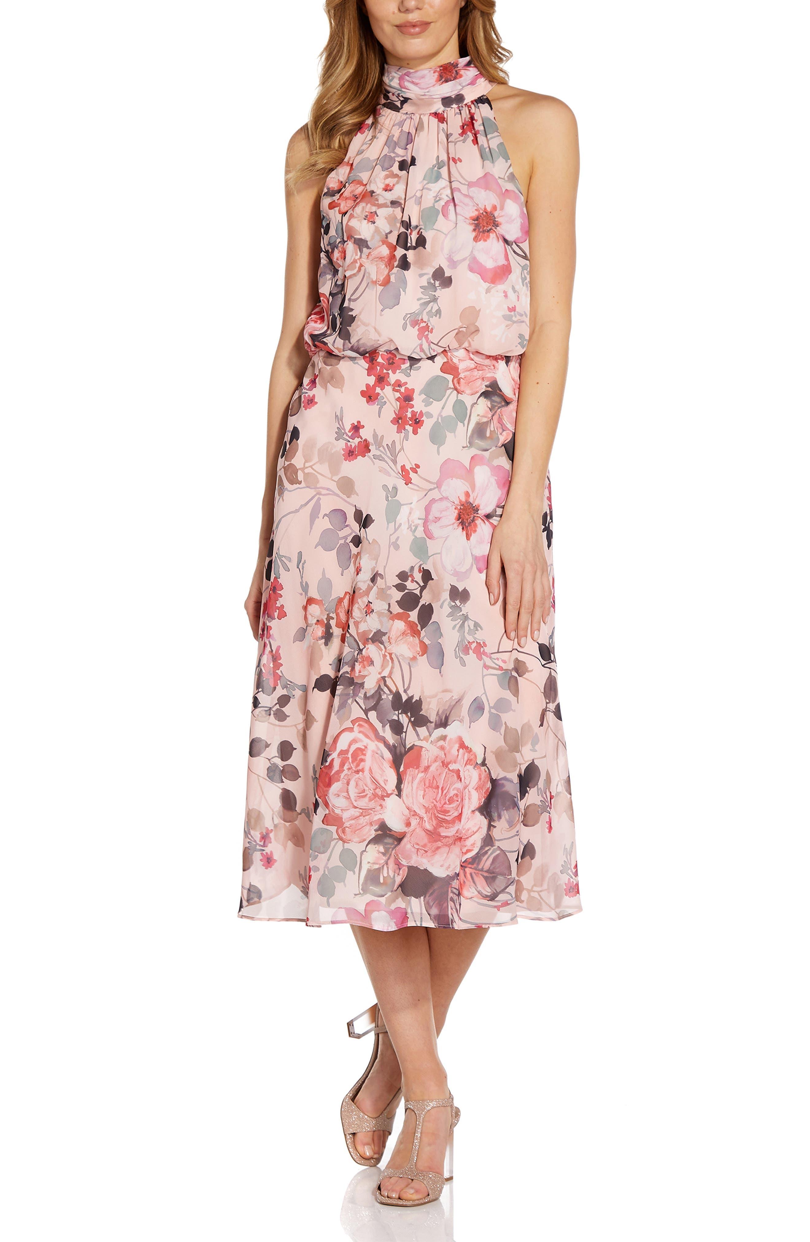 Floral Halter Neck Chiffon Midi Dress