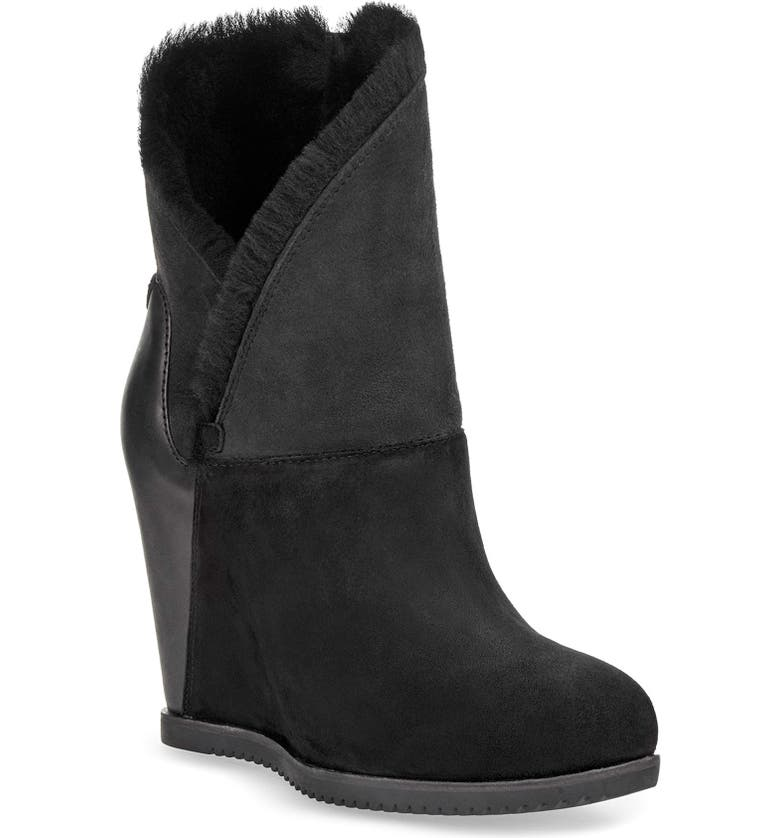 UGG<SUP>®</SUP> Classic Mondri Cuff Wedge Boot, Main, color, BLACK SUEDE