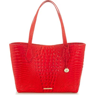 Brahmin Athen Croc-Embossed Leather Tote - Red