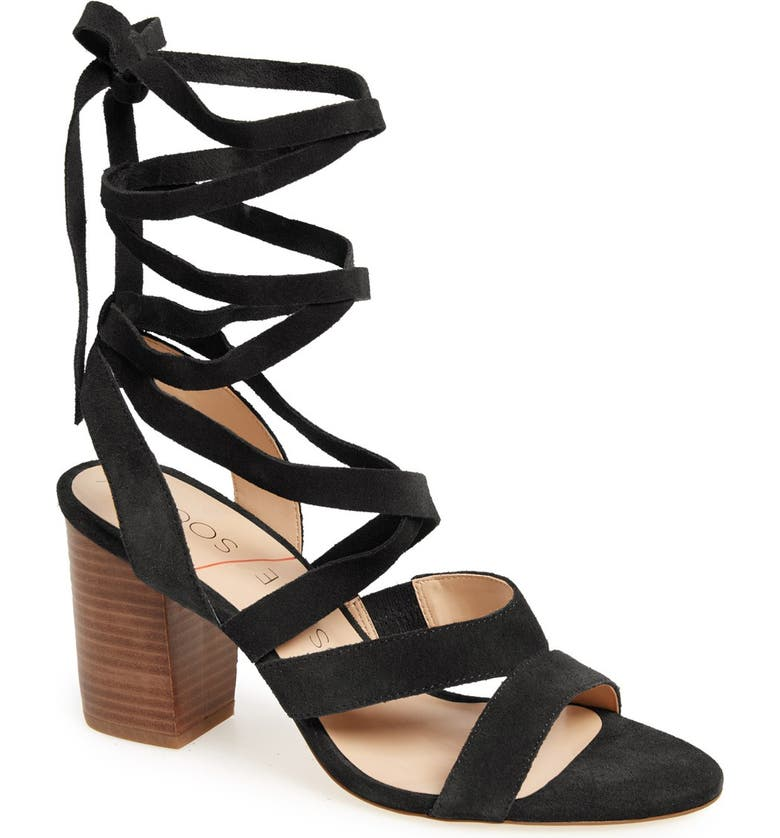 SOLE SOCIETY 'Lyla' Lace-Up Sandal, Main, color, 003