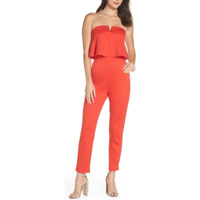 Fraiche By J Strapless Jumpsuit, Red