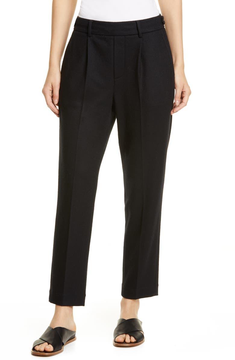 VINCE Wool Blend Flannel Pull-On Pants, Main, color, BLACK