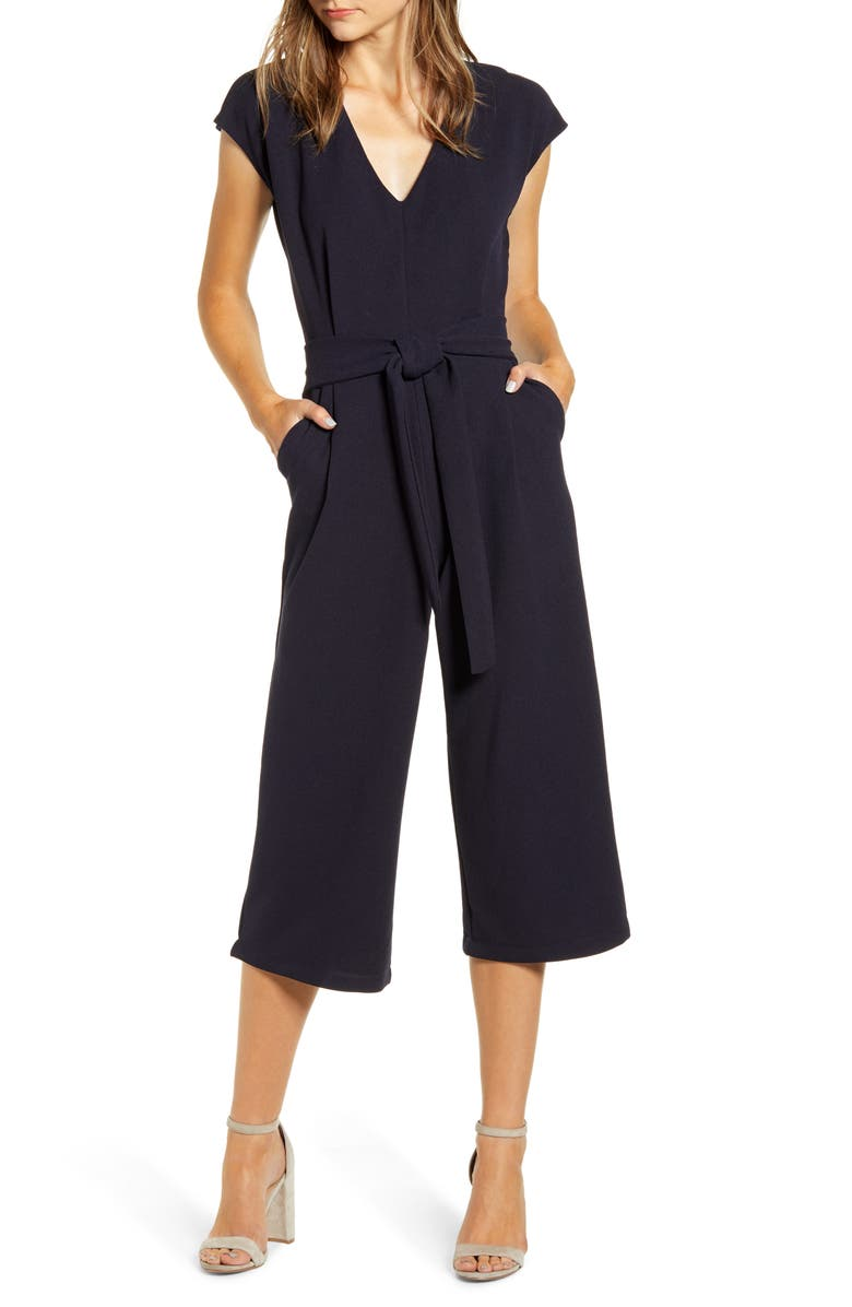 BISHOP + YOUNG Tie Front Crop Jumpsuit, Main, color, NAVY