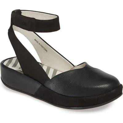 Fly London Boke Ankle Strap Flat - Black
