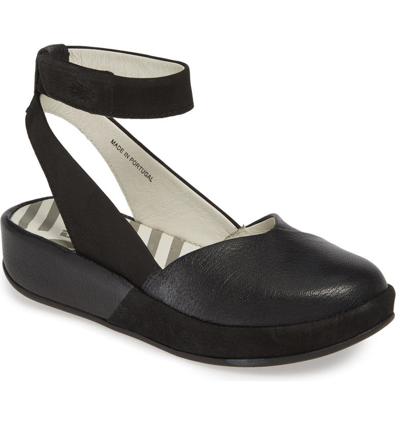 FLY LONDON Boke Ankle Strap Flat, Main, color, BLACK MOUSSE LEATHER