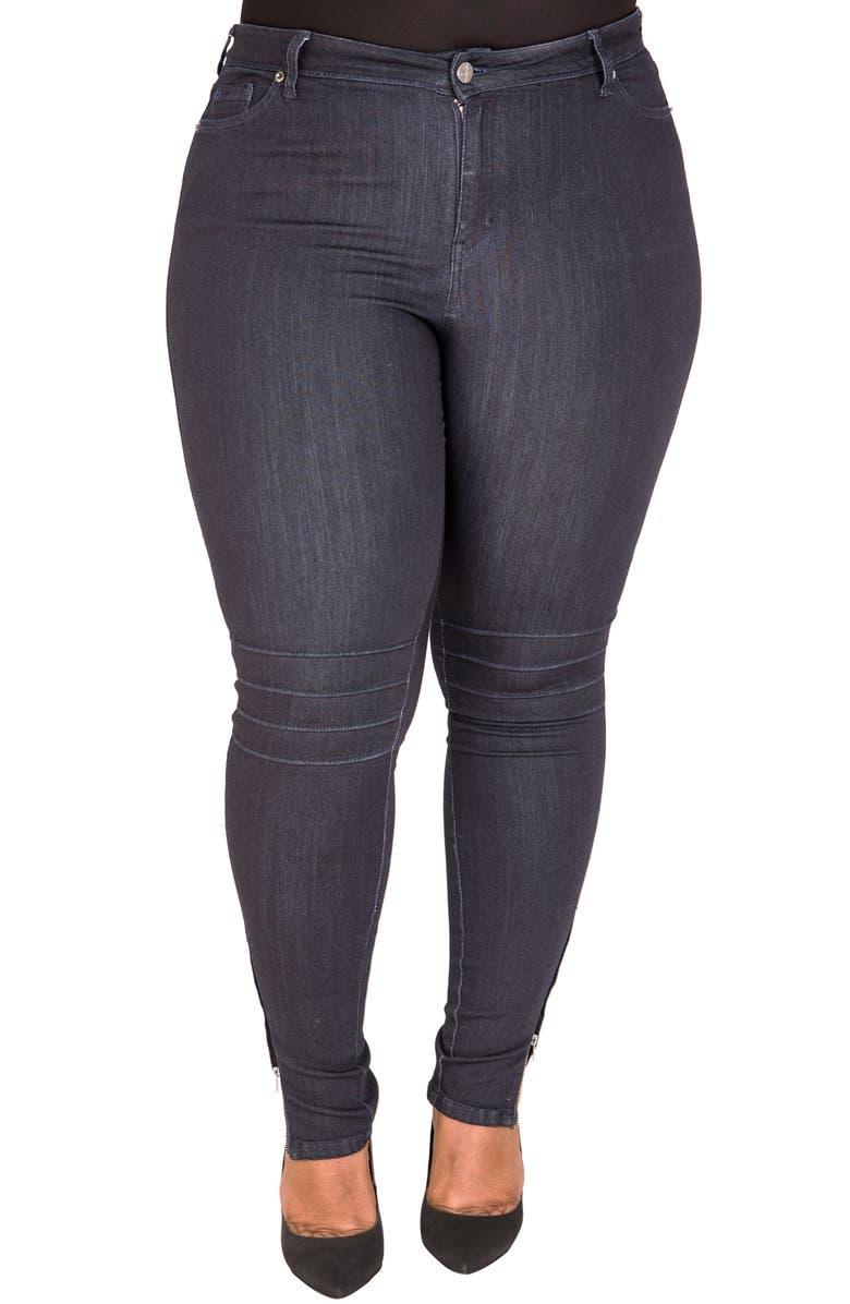 POETIC JUSTICE Marley Pintuck Knee Moto Jeans, Main, color, 419