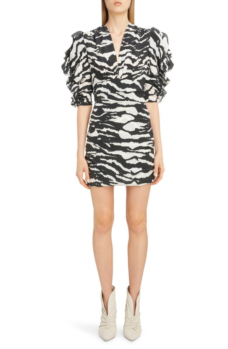 ISABEL MARANT Zebra Print Puff Sleeve Stretch Silk Minidress, Main, color, BLACK